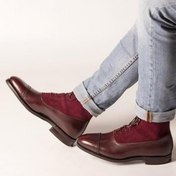 Handmade Men cap toe Two tone Leather ankle high boots, Men Burgundy Lace up ankle boots