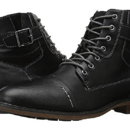Handmade Black Lace Up, Monk Strap Boots, Cap Toe Ankle Real Leather Boots