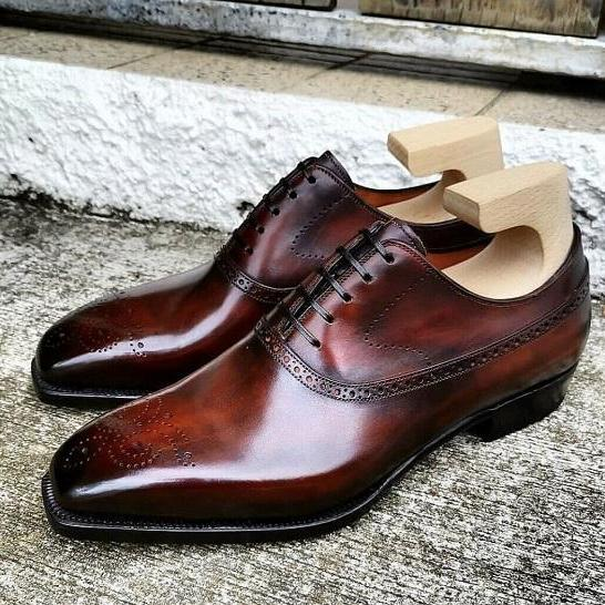 New Pure Handmade Brown Shaded Leather Lace up Brogue Shoes for Men's